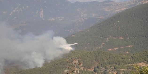 Aydıncık'taki orman yangını devam ediyor