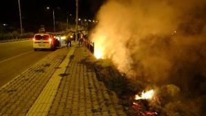 Erdemli'de korkutan yangınlar