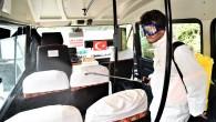 Toroslar'da yolcu minibüsleri de dezenfekte ediliyor