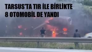 Otomobil taşıyan TIR alev alev yandı