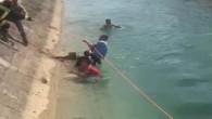 Tarsus'ta kanala düşen çocuk son anda kurtarıldı