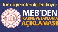 MEB açıkladı karne ve diplomalar…