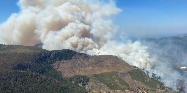 Aydıncık'ta çıkan orman yangını büyüyor