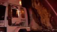 Narenciye yüklü kamyon yandı
